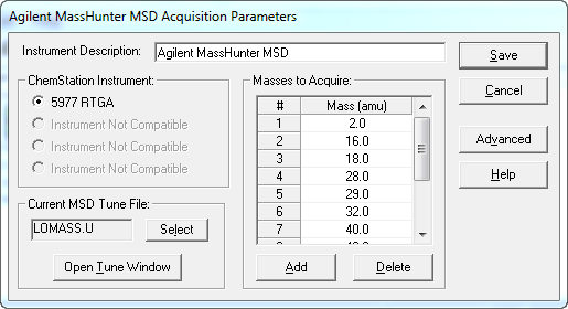 Agilent MassHunter MSD Acquisition Parameters